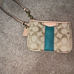 COACH Tan and Turquoise Wristlet